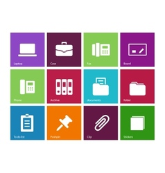 Office icons on color background vector image