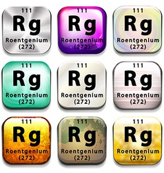A periodic table showing roentgenium vector
