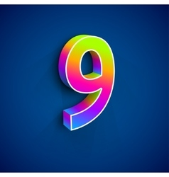 3d Number Nine vector image