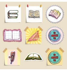 Hand drawn education emblems set isolated vector
