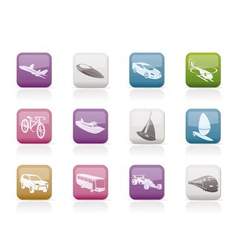 different kind of transportation and travel icons vector image