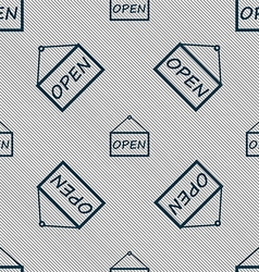 Open icon sign seamless pattern with geometric vector