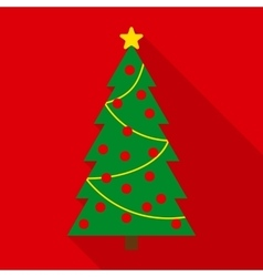 Christmas tree with decor in flat style vector