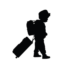 Child with travel bag silhouette vector