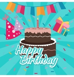 Celebrate happy birthday cake flat vector