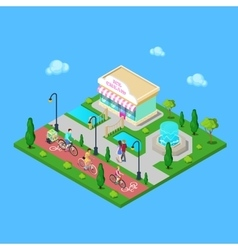 City park bicycle path family riding on bikes vector