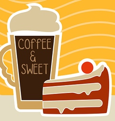 a cup of coffee and cake vector image vector image