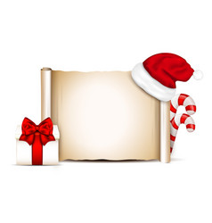 Blank paper with santa hat on a winter christmas vector