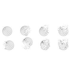 broken polygonal wireframe sphere fractured vector image