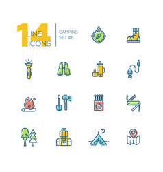 camping and hiking - thick line icons set vector image