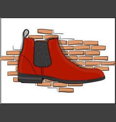 Chelseaorange boots on a pink brick wall vector