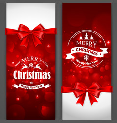 Christmas cards with red bows vector image vector image