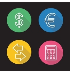 Currency exchange flat linear icons set vector