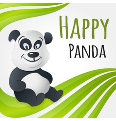 Cute happy panda character vector image