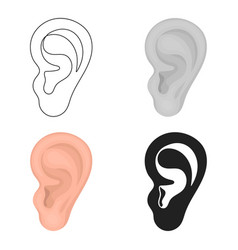 Ear icon in cartoon style isolated on white vector