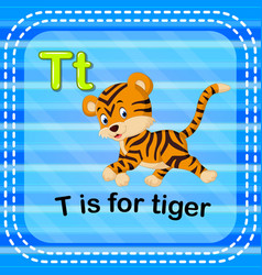 Flashcard letter t is for tiger vector