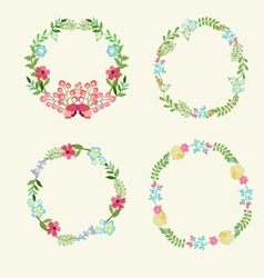 Floral Frame Collection retro flowers wreath vector image
