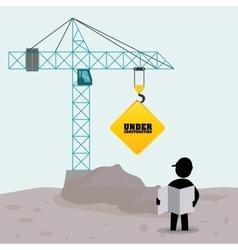 Foreman worker construction concrete blueprint vector