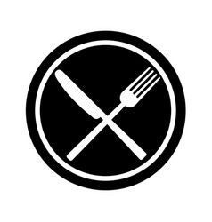 fork and knife on plate background vector image vector image