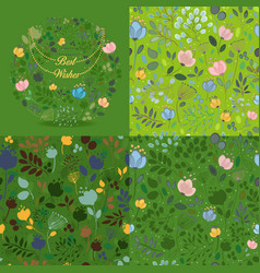 Green floral round and seamless patterns set vector