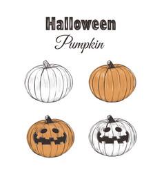 halloween pumpkin sketch set vector image vector image