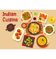 Indian cuisine vegetarian dinner dishes icon vector