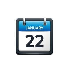 January 22 calendar icon flat vector