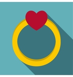 Love ring icon flat style vector
