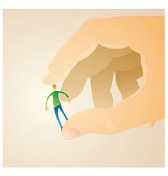 man between fingers vector image vector image