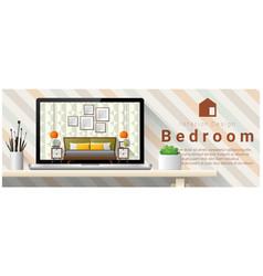 Modern bedroom interior design background vector