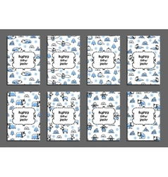 Set of happy new year card templates with arctic vector