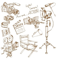 Set of movie make objects vector