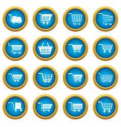 shopping cart icons blue circle set vector image