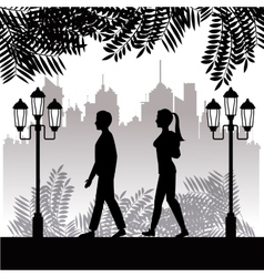 Silhouette guy and girl walk park twon background vector