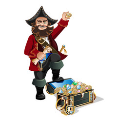Treasure chest and pirate vector