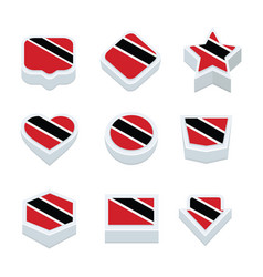 Trinidad amp tobago flags icons and button set vector