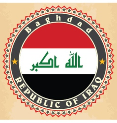 Vintage label cards of iraq flag vector