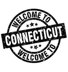 Welcome to connecticut black stamp vector