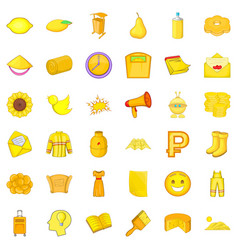 Yellow bird icons set cartoon style vector