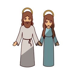 Mary and jesus cartoon of holy night design vector