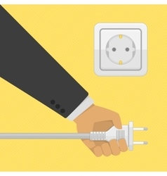 Electric power plug holding in hand vector
