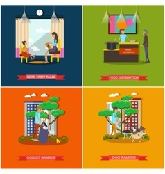 set of voluntary organization services vector image