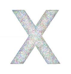 Colorful sketch font design - letter x vector