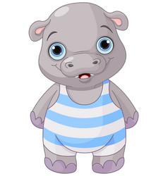 Cute baby hippo vector