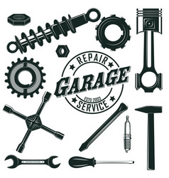 Vintage mechanic tools set vector