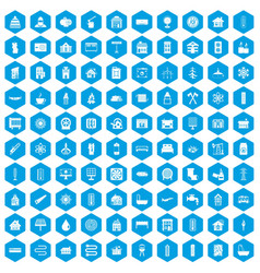 100 heating icons set blue vector