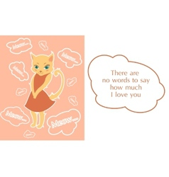 Postcard with beutiful shy kitty vector