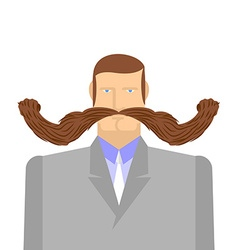 Man with mustache barbel big and heavy mustache a vector