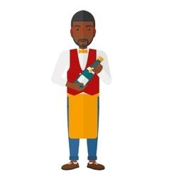 Waiter holding bottle of wine vector