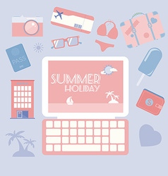 Travel planning summer holiday icon set vector